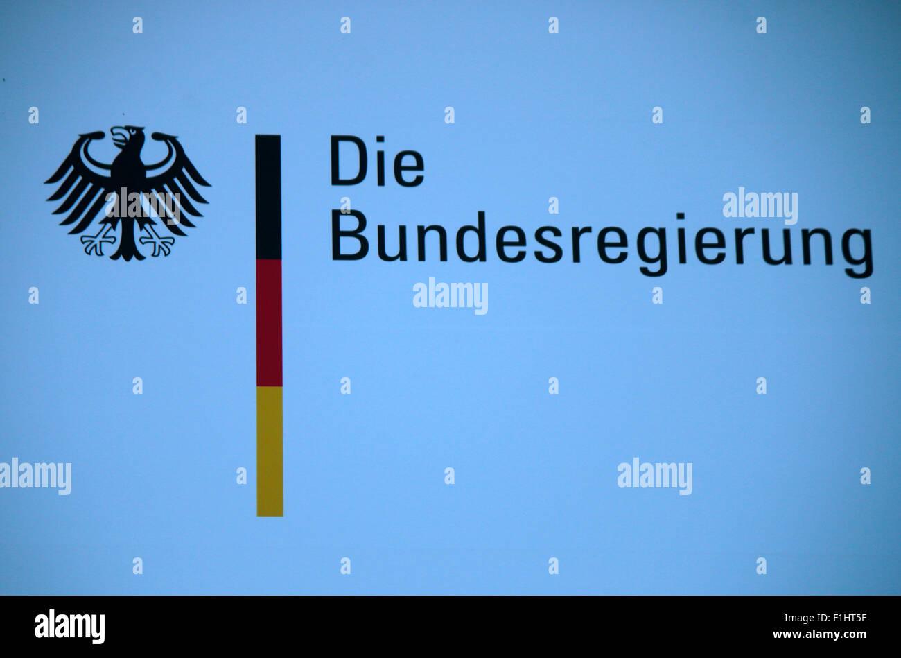Logo 'Bundesregierung', Berlin. - Stock Image
