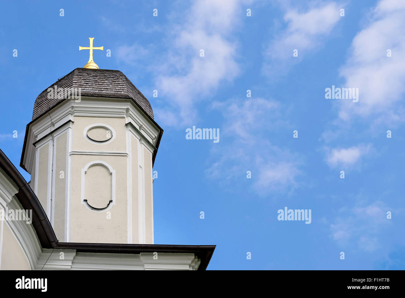 Background picture of pilgrimage church Maria Birnbaum in Germany, Bavaria, free space in sky - Stock Image