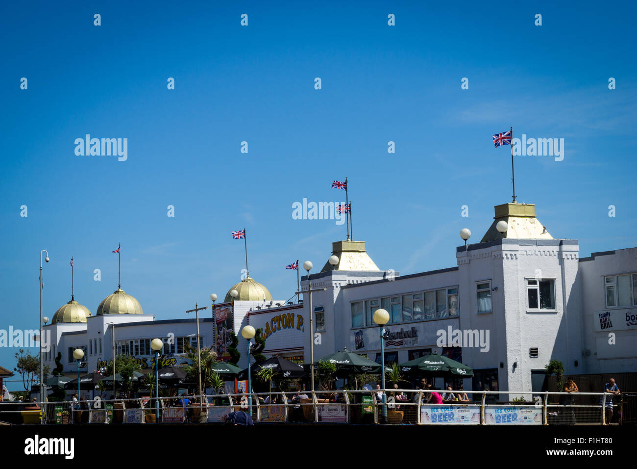 A view of Clacton pier, Clacton-on-Sea, Essex, UK - Stock Image