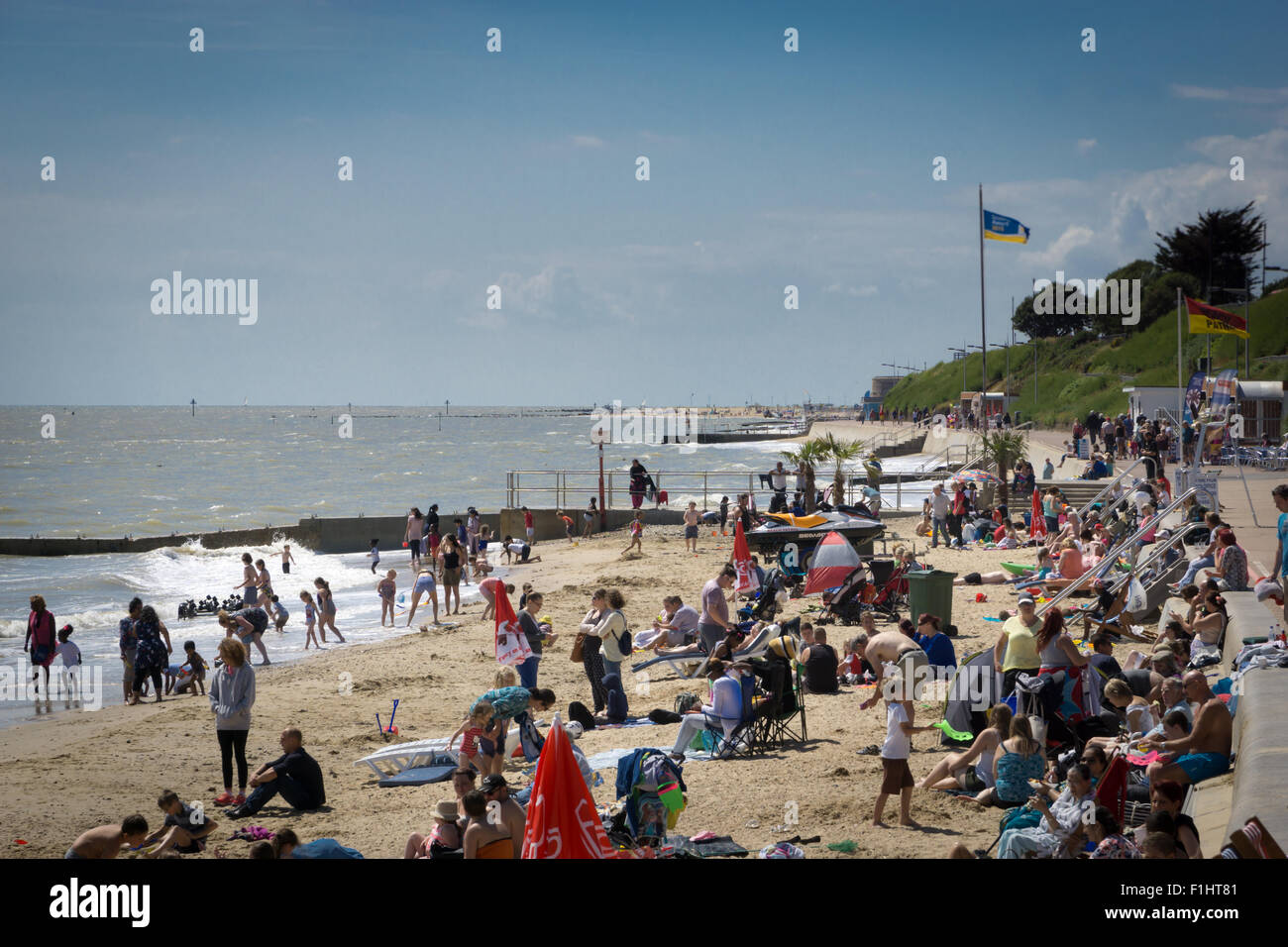 A crowded beach at Clacton-on-Sea, Essex, UK - Stock Image