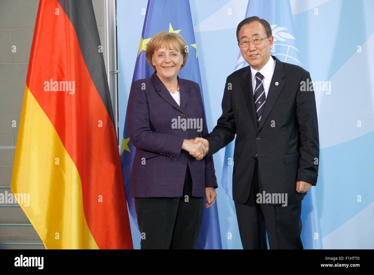 Angela Merkel , Ban Ki-Moon - Treffen der dt. Bundeskanzlerin mit dem Generalsekretaer der Vereinten Nationen, 15. - Stock Image
