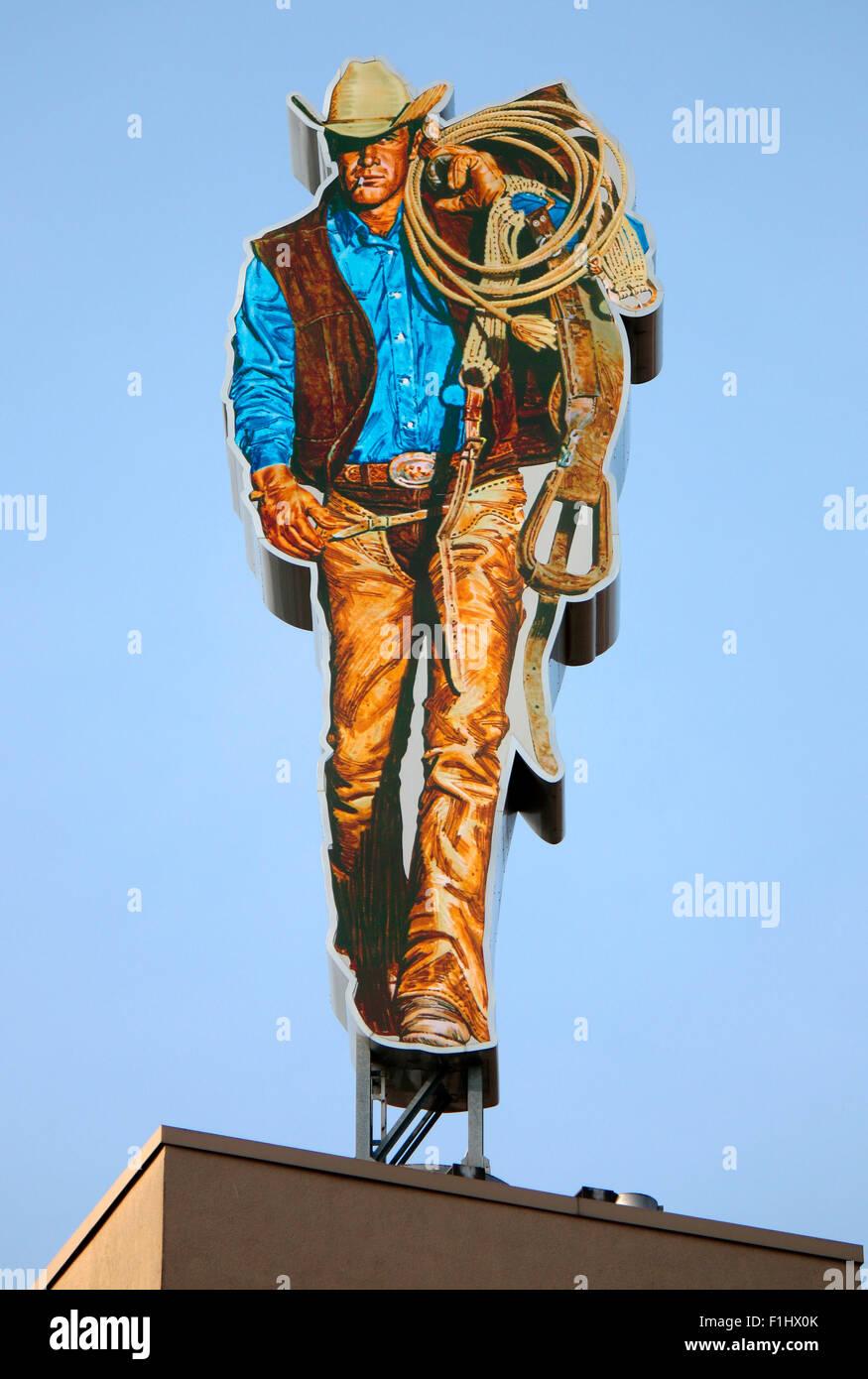 Werbung fur 'Marlboro' mit dem 'Marlboro Mann', Berlin. - Stock Image