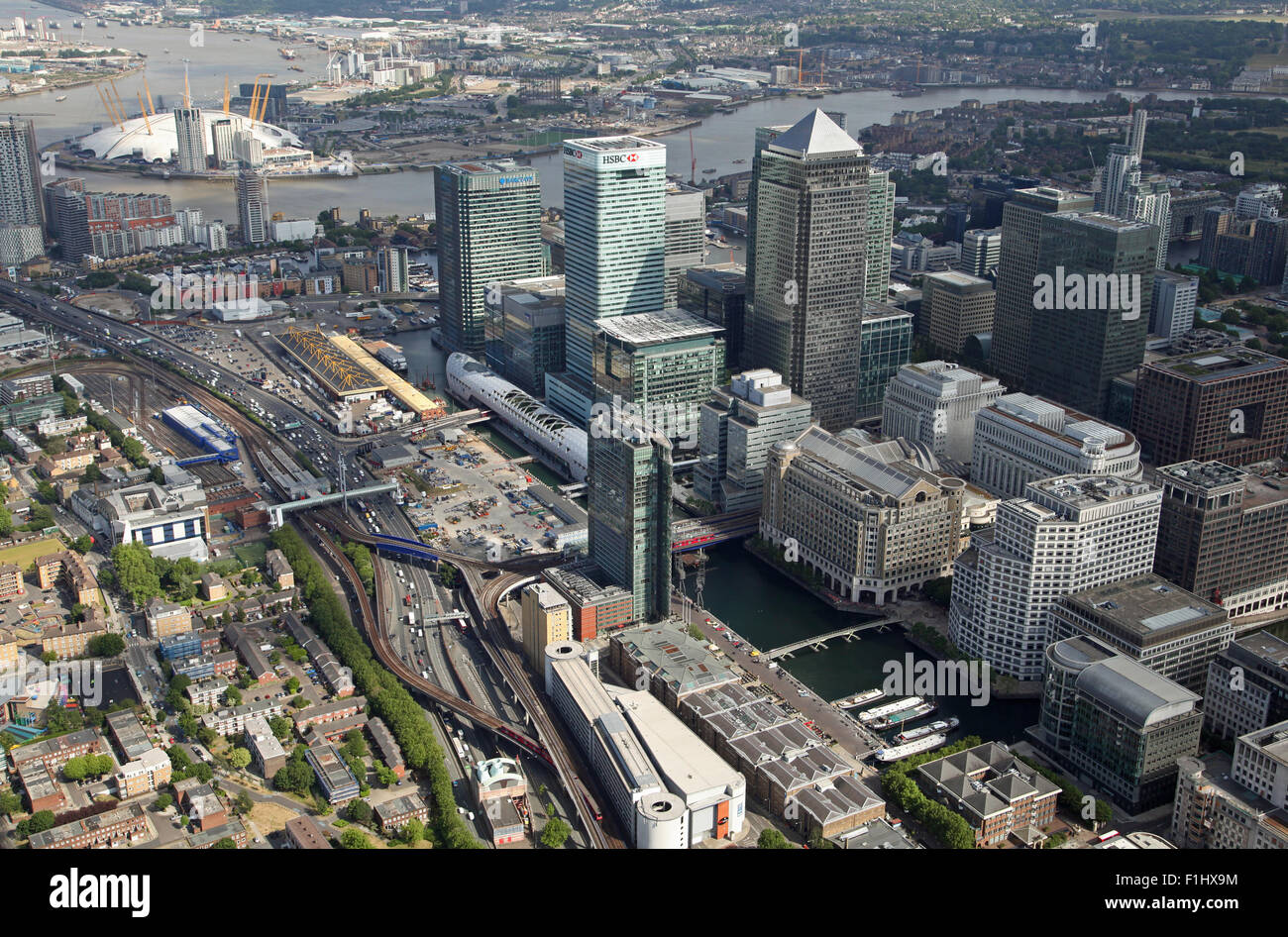 aerial view of Canary Wharf & O2 Arena looking along the West India Dock Road A1261 and Docklands Light Railway - Stock Image