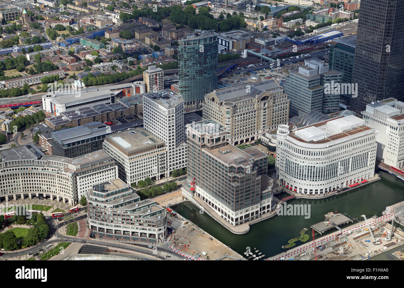 aerial view of Middle Dock and West India Road in Canary Wharf, East London, UK - Stock Image