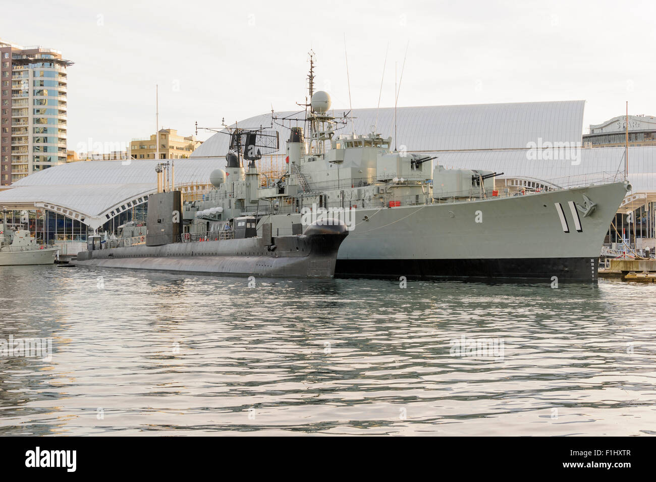Submarine HMAS Onslow and the destroyer HMAS Vampire at the Australian National Maritime Museum in Darling Harbour, - Stock Image