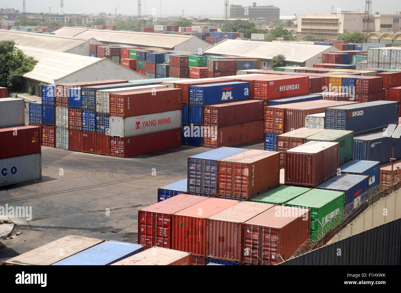Larger numbers of containers of imported goods can be seen
