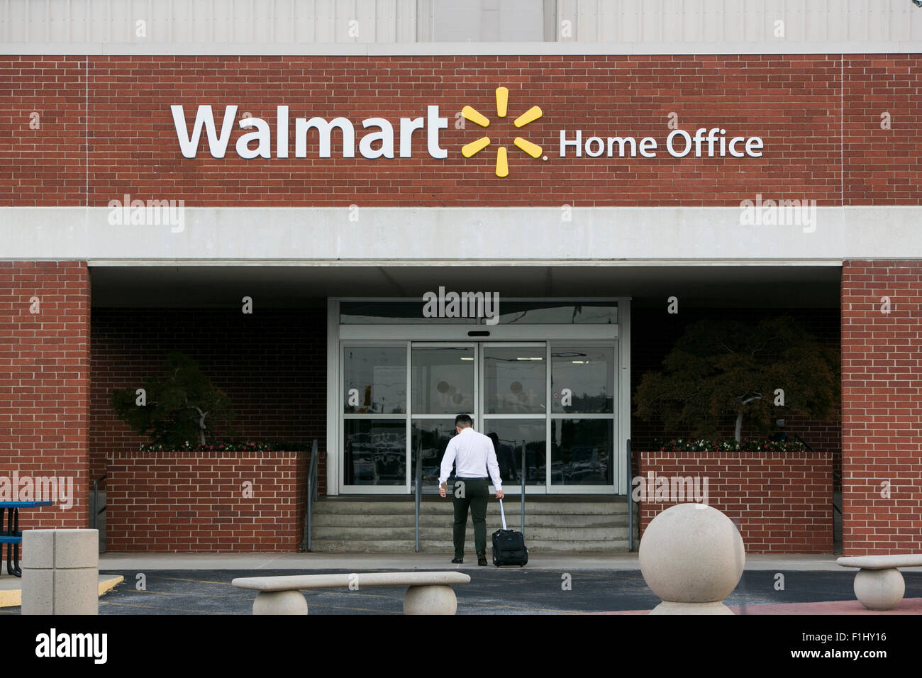 outside home office pod logo sign outside of the walmart headquarters known as home office in bentonville arkansas on august 18 2015