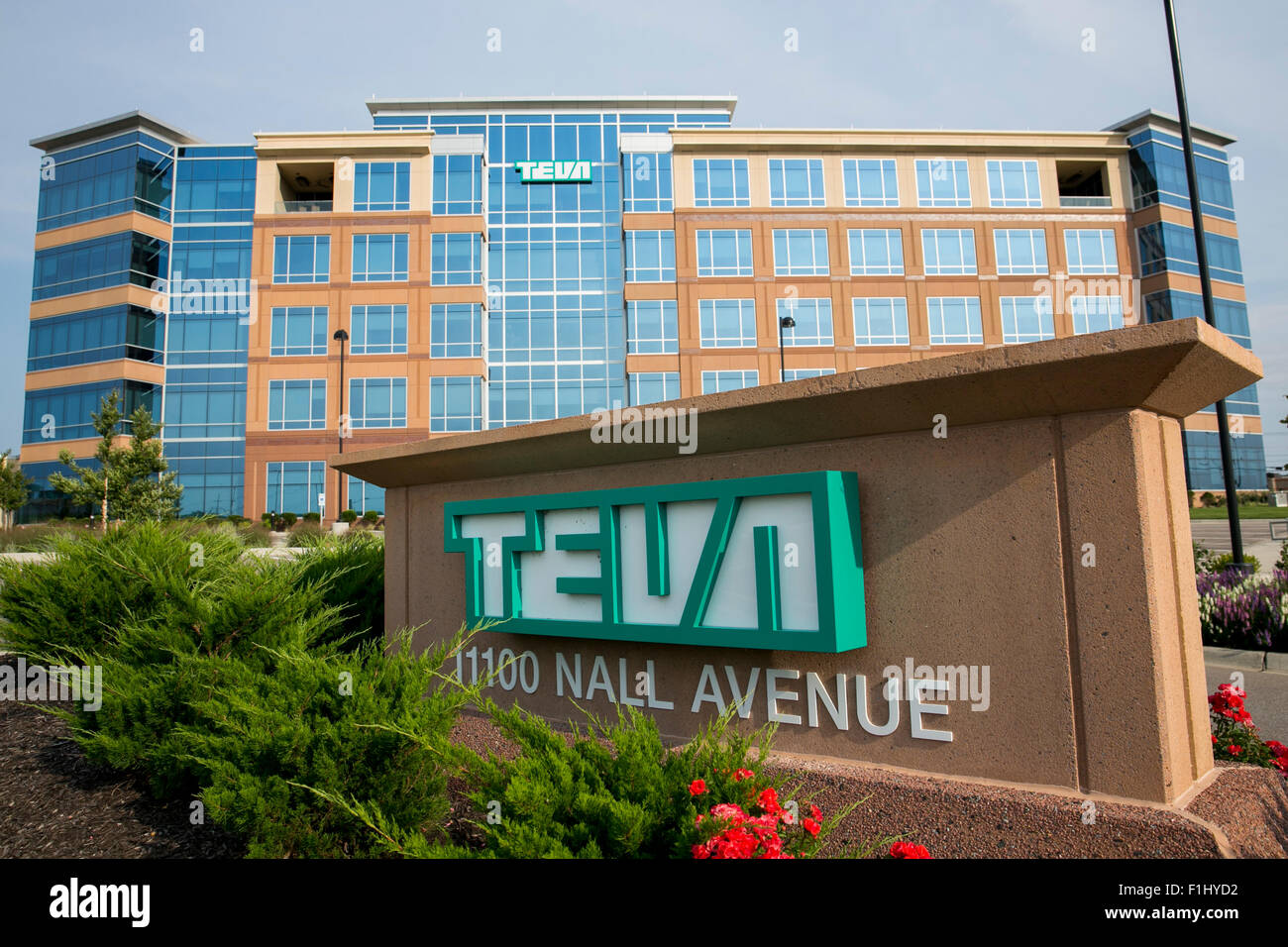 A logo sign outside of a facility occupied by Teva Pharmaceutical Industries in Overland Park, Kansas on August - Stock Image