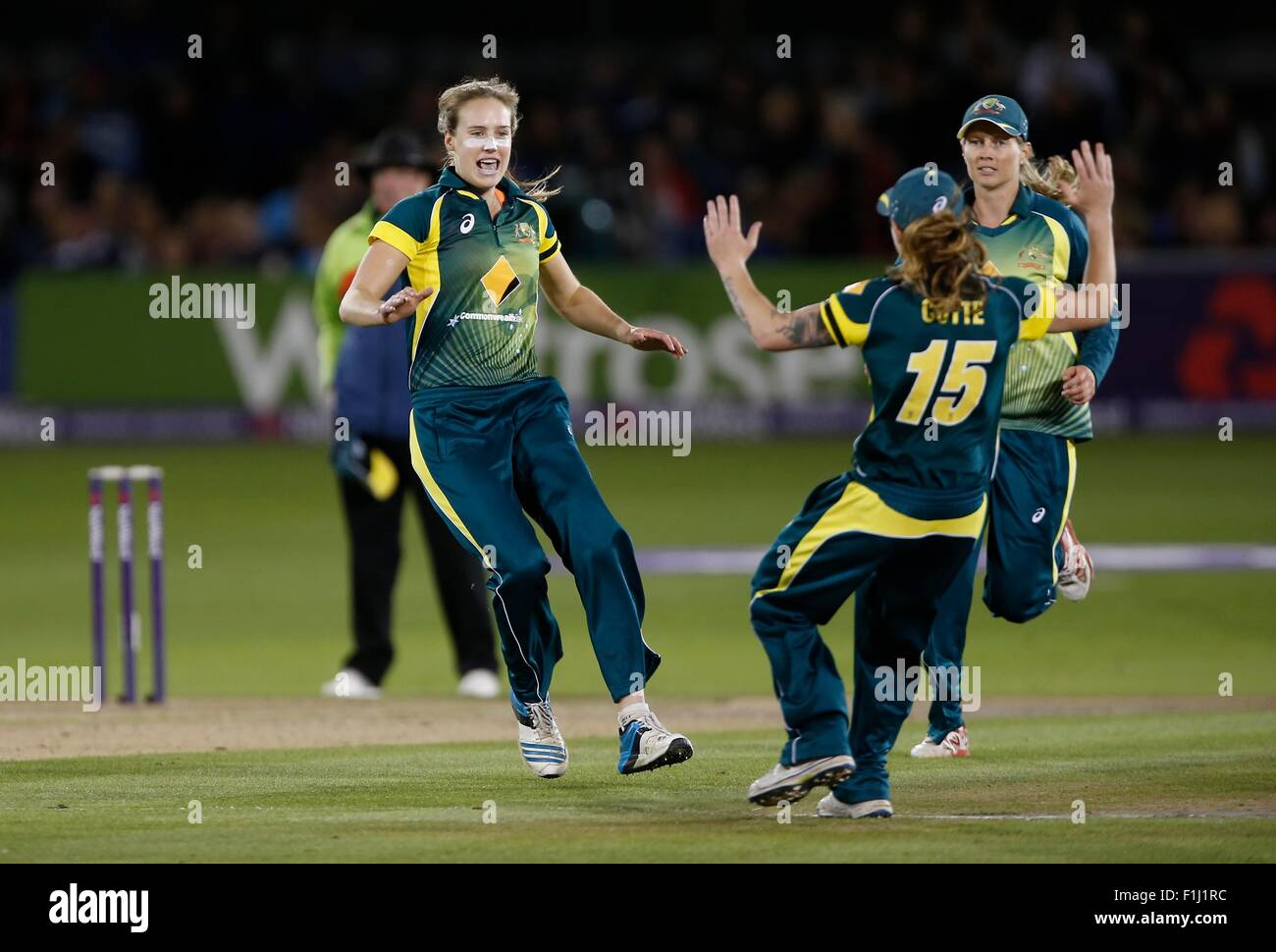 Ellyse Perry Of Australia Celebrates Taking Natalie Scives Wicket During The Womens Ashes NatWest T20I Match