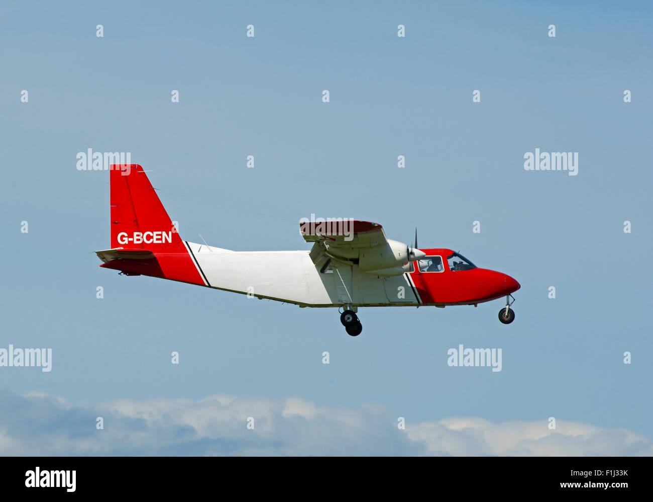 Britten Norman BN-2A-26 Islander (G-BCEN)  approaching Inverness Airport.  SCO 10,071. - Stock Image