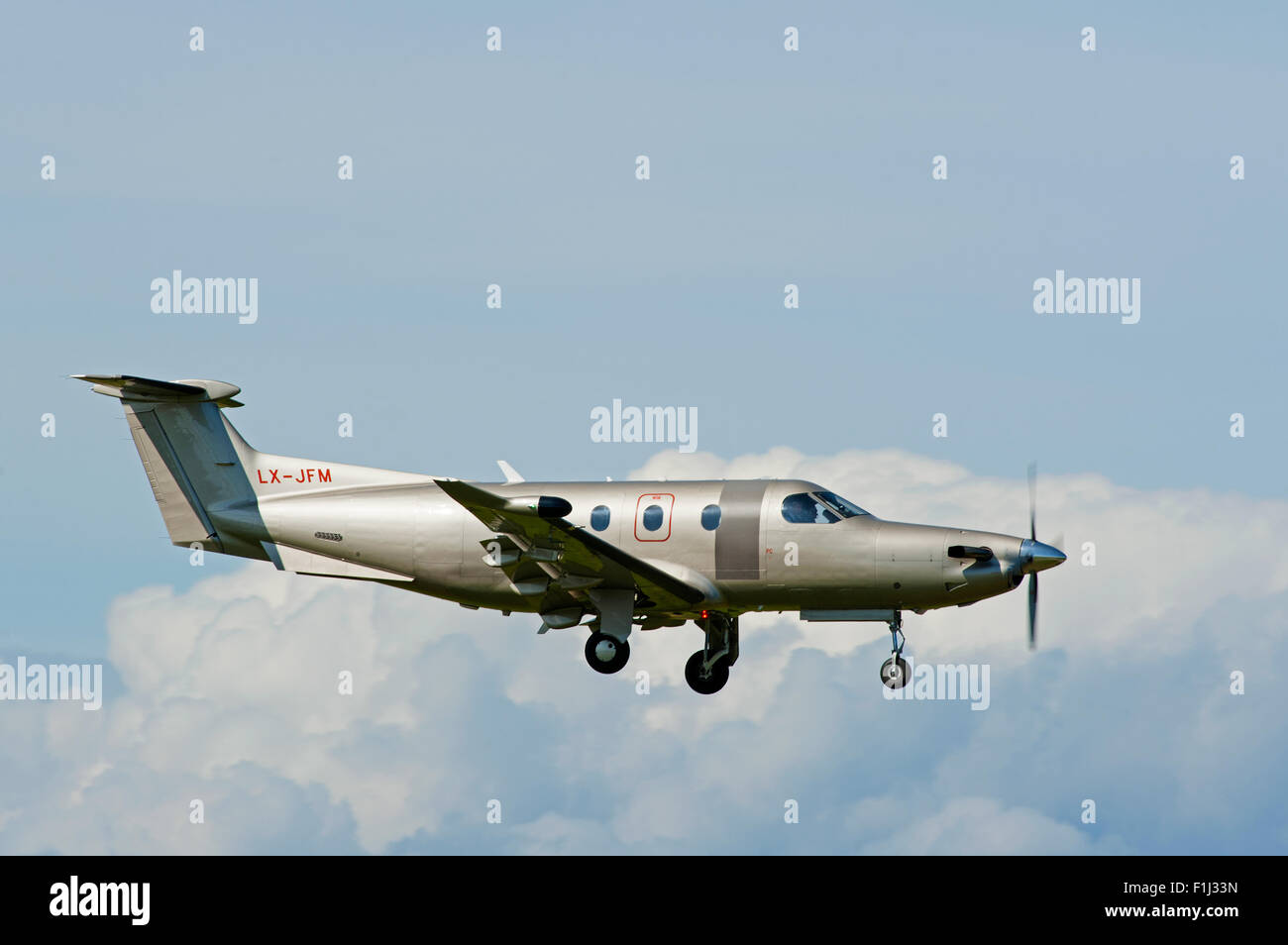 Pilatus PC-12NG (PC-12/47E) Luxembourg registered (LX-JFM) arriving at Inverness Scotland.  SCO 10,073. - Stock Image