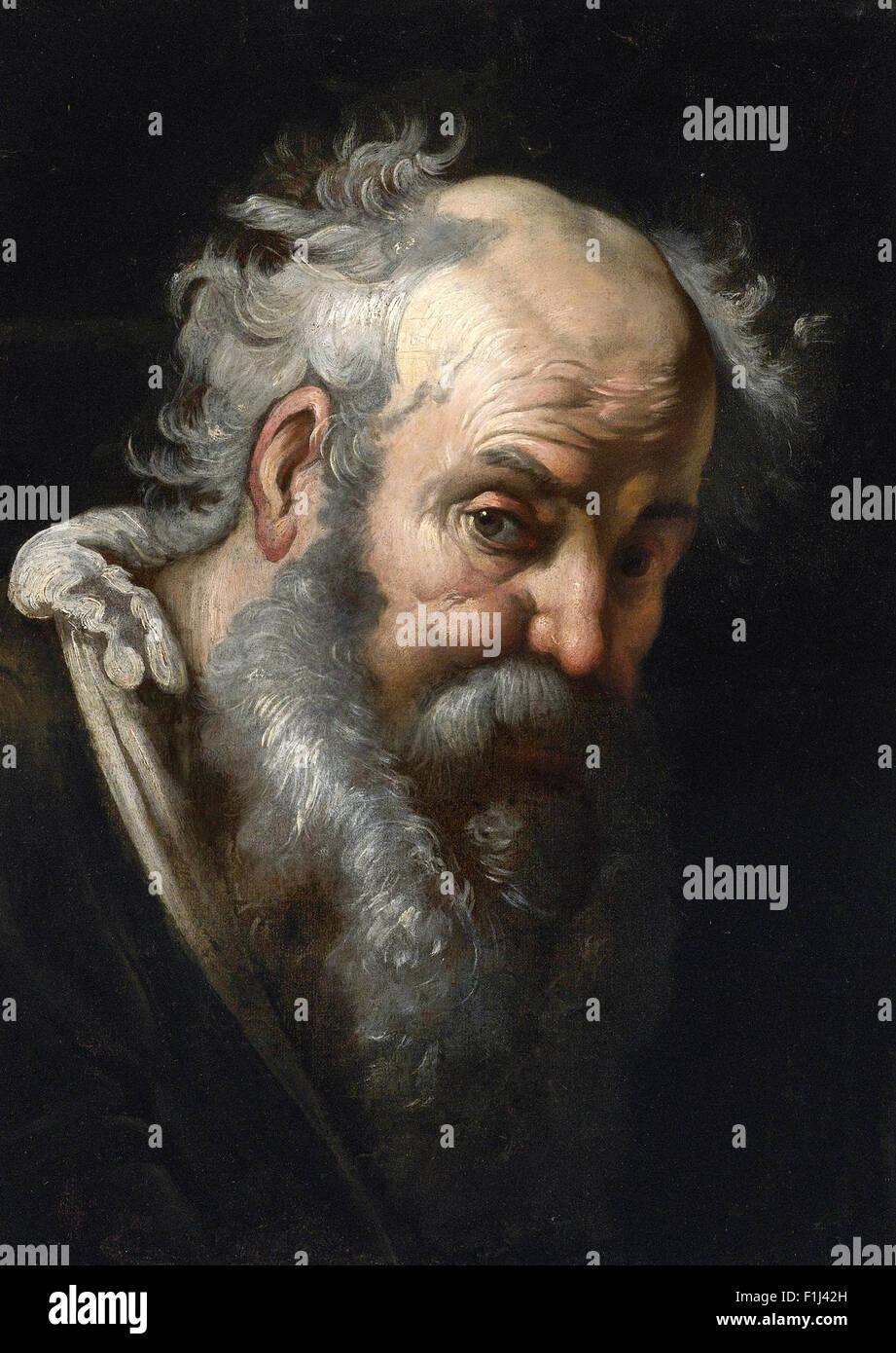 Bernardo Strozzi - Head of a Bearded Man - Stock Image