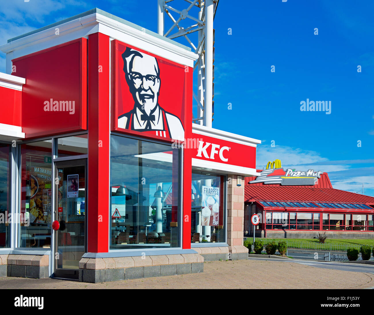 Branch of KFC, Kentucky Fried Chicken, in Barrow-in-Furness, Cumbria, England UK - Stock Image
