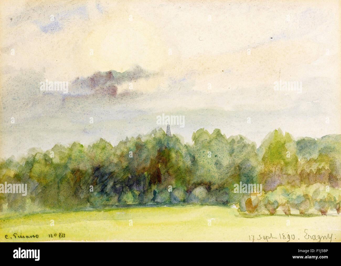 Camille Pissarro - Paysage à Eragny - Stock Image