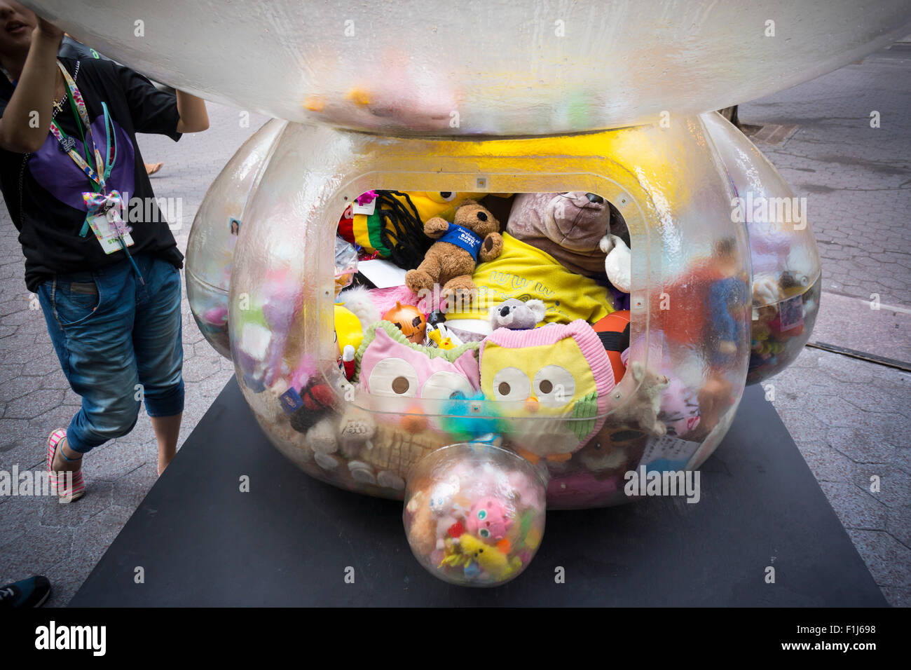 """""""Time after Time Capsule"""" by the artist Sebastian Masuda stands in Dag Hammarskjold Plaza in New York on Sunday, Stock Photo"""