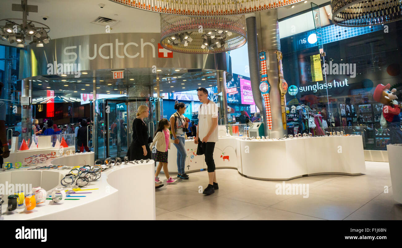 The Swatch store in Times Square in New York on Wednesday, August 26, 2015.  Swatch is the world's largest manufacturer - Stock Image