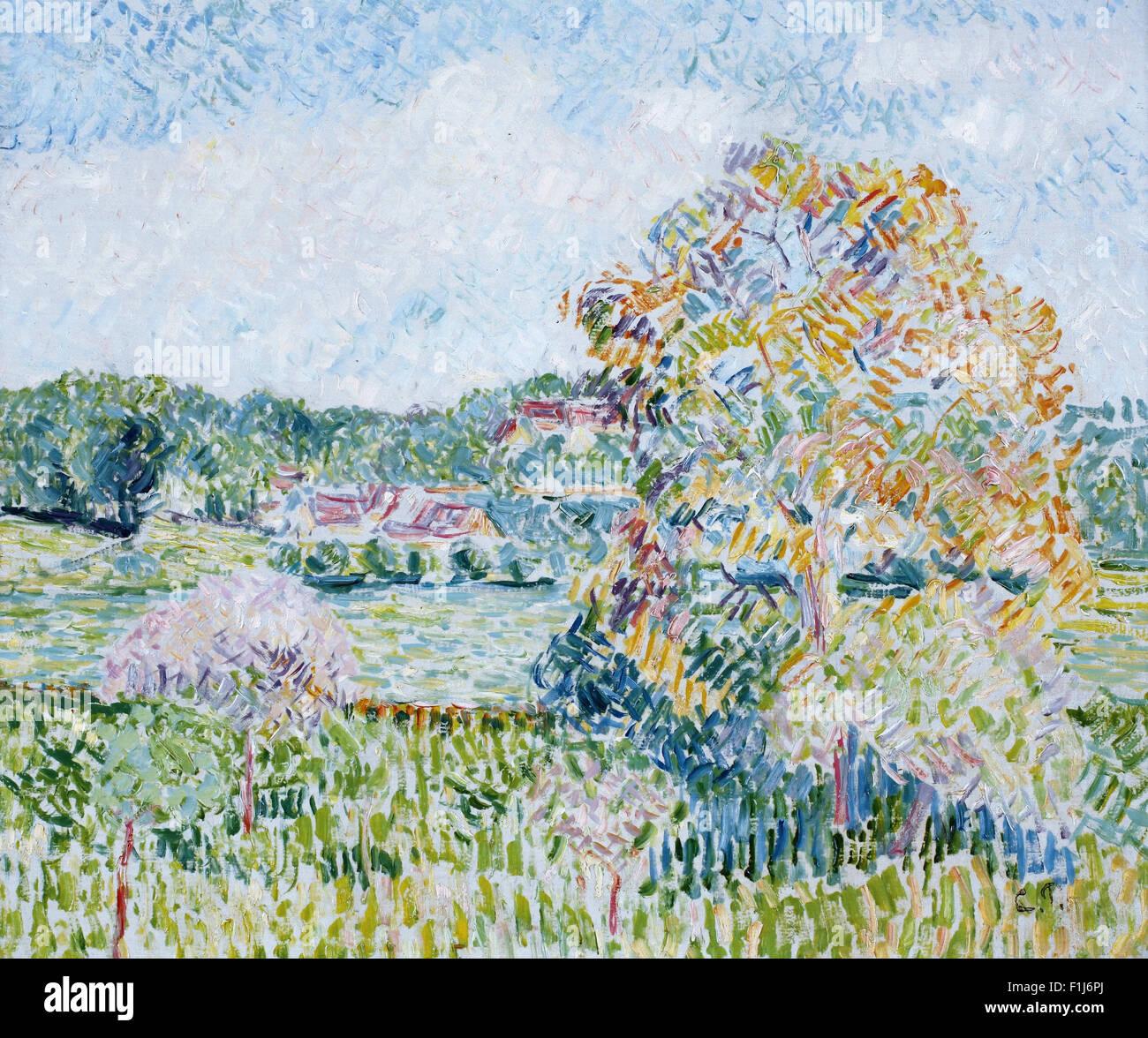 Camille Pissarro - Le Grand Noyer à Eragny, Automne - Stock Image