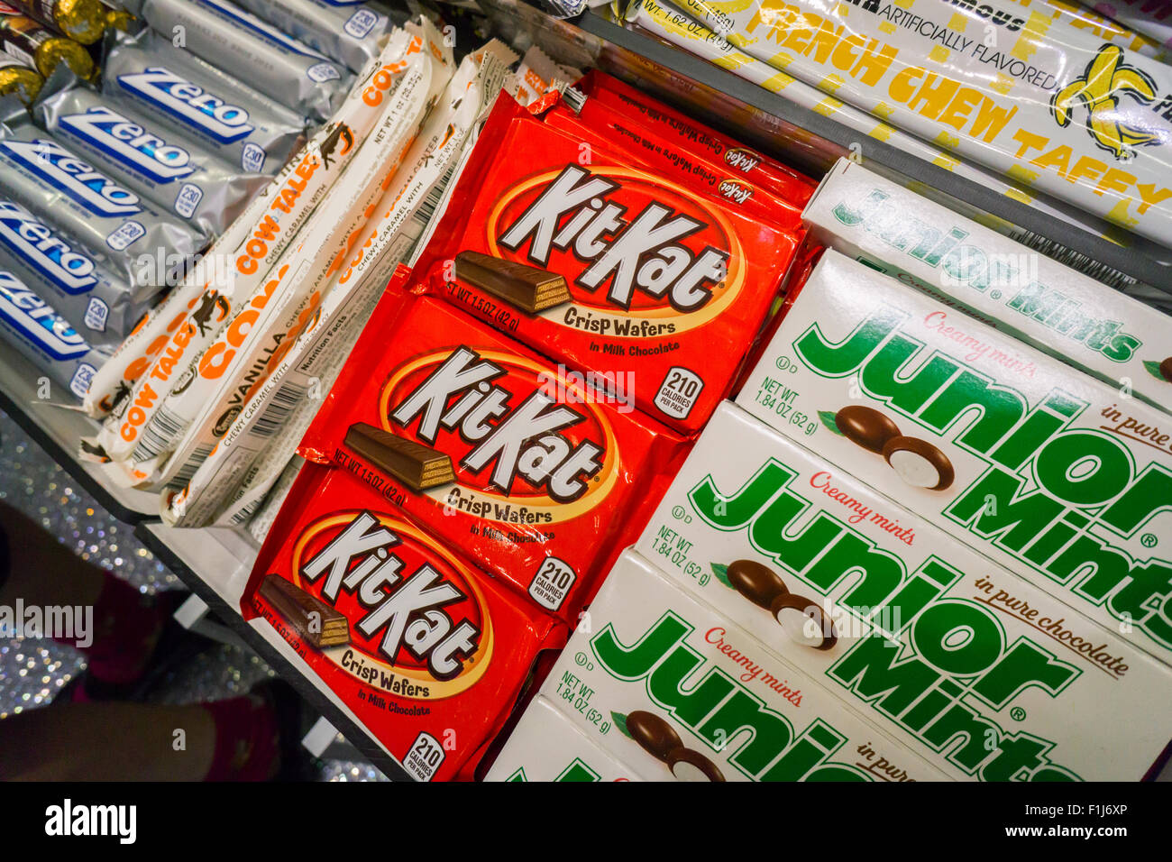 Nestlé's KitKat brand chocolate candy in a store in New York on Tuesday, September 1, 2015. KitKat announced - Stock Image