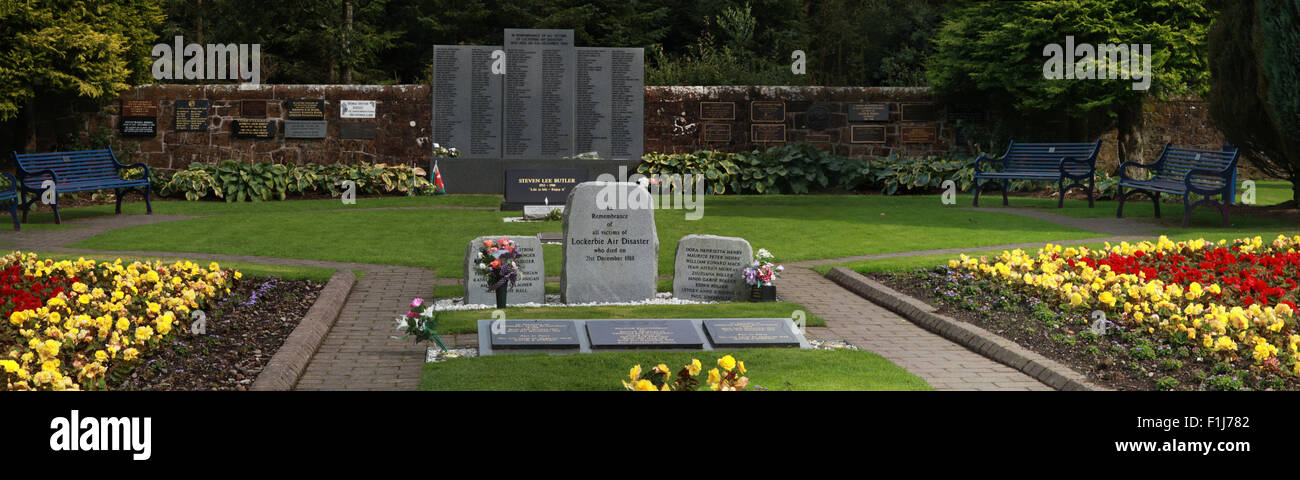 Wide shot of the Lockerbie PA103 memorial,in summer,Scotland - Stock Image