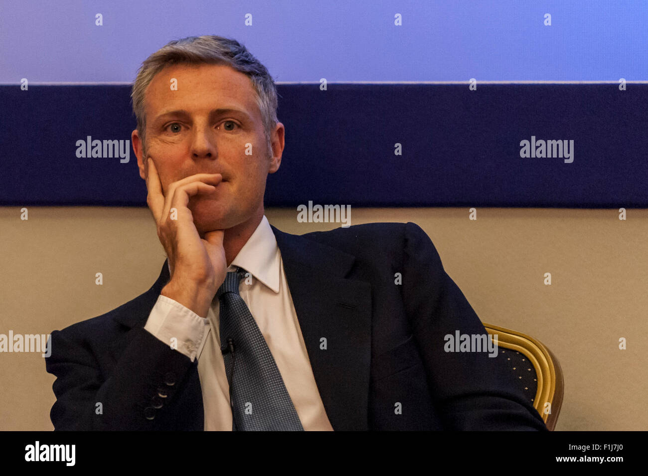 London, UK.  2 September 2015.  Zac Goldsmith looks on as Centre for London and Prospect Magazine host a major hustings - Stock Image