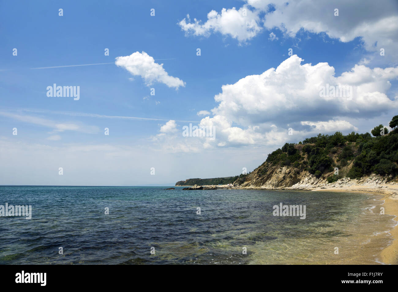 View from Paralia Eleochoriou and Aegean sea, North Greece - Stock Image