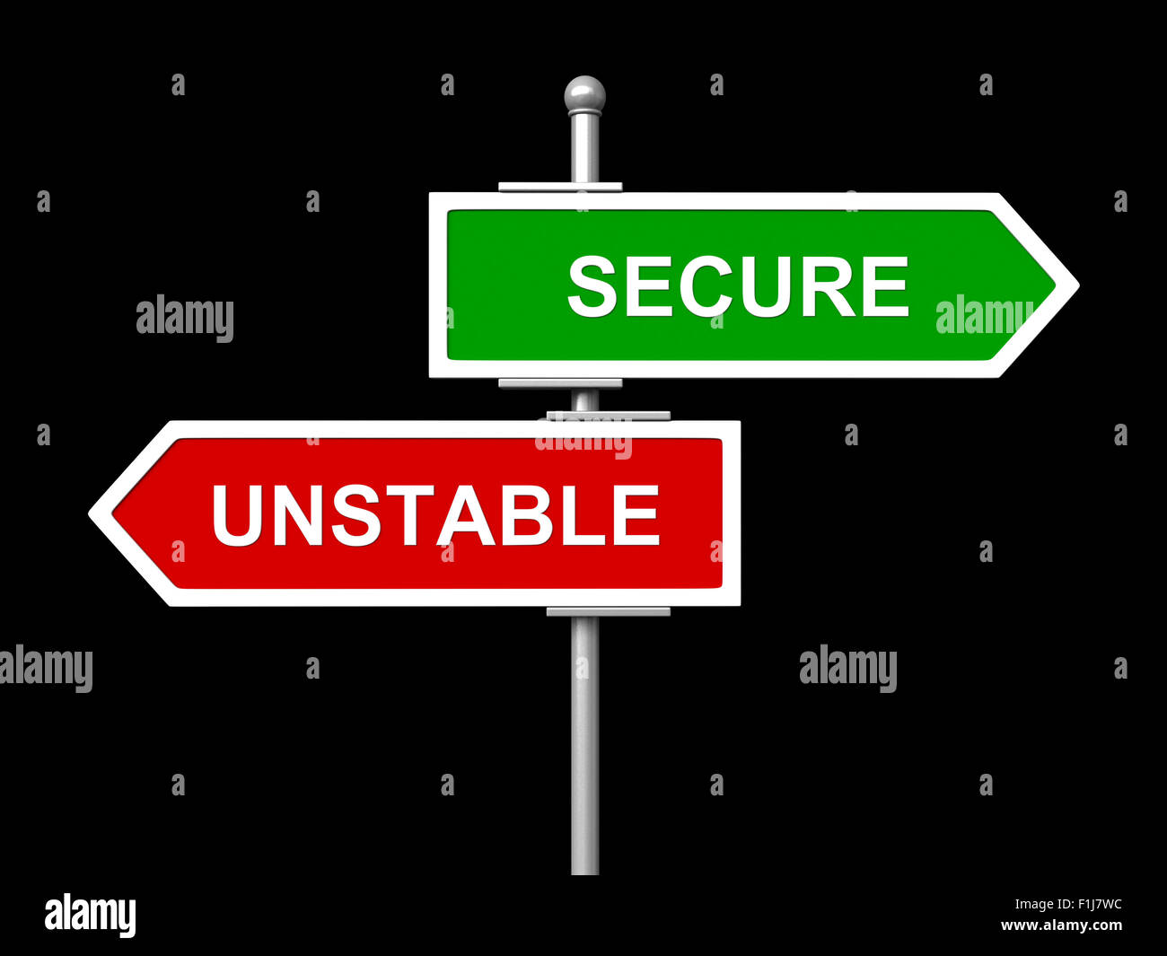 3d render of blank green signs isolated on black background - Stock Image
