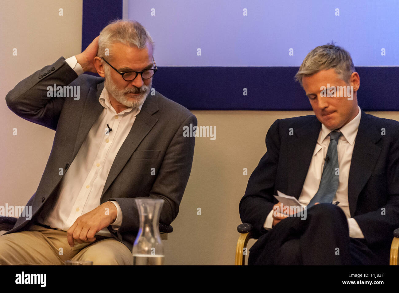 London, UK.  2 September 2015.  Andrew Boff and Zac Goldsmith look on as Centre for London and Prospect Magazine - Stock Image