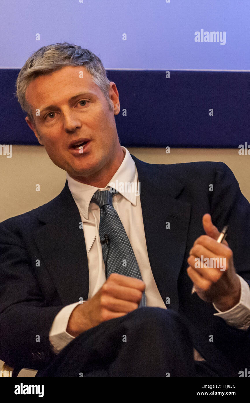 London, UK.  2 September 2015.  Zac Goldsmith speaks as Centre for London and Prospect Magazine host a major hustings - Stock Image