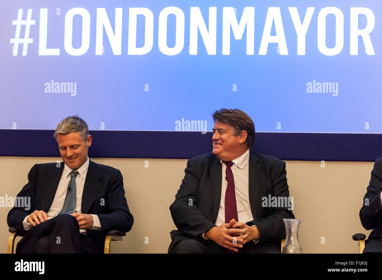 London, UK.  2 September 2015.  Zac Goldsmith and Stephen Greenhalgh share a joke as Centre for London and Prospect - Stock Image