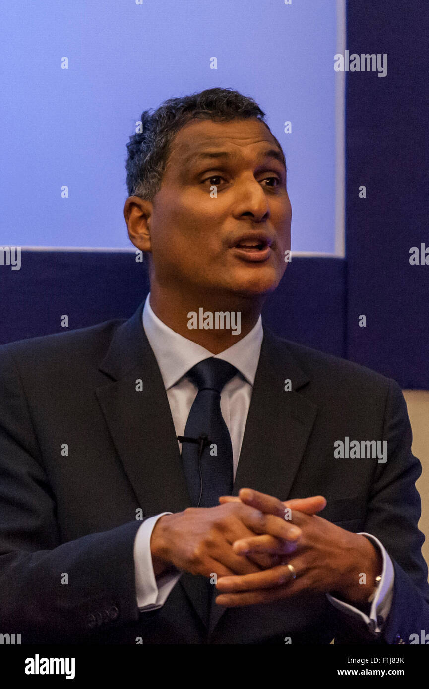 London, UK.  2 September 2015.  Syed Kamall speaks as Centre for London and Prospect Magazine host a major hustings - Stock Image