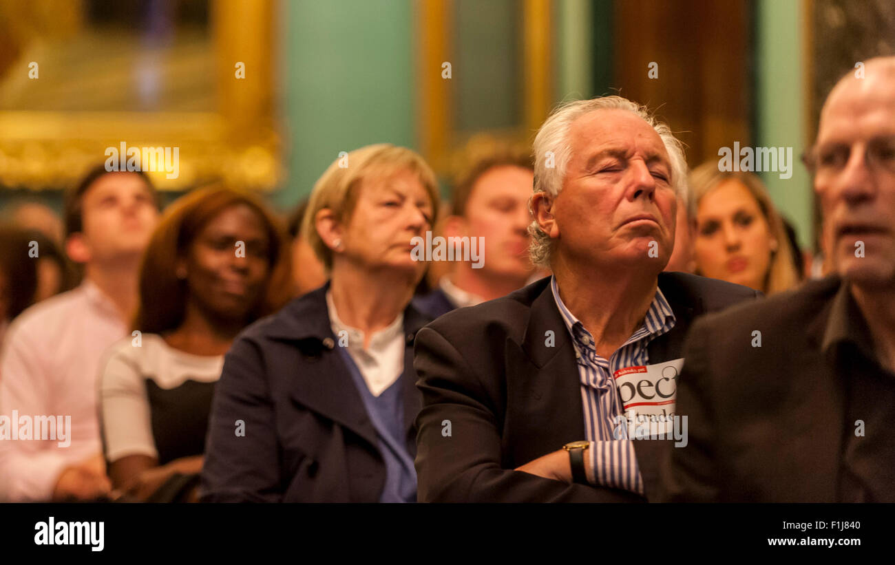 London, UK.  2 September 2015.  A man sleeps in the audience as Centre for London and Prospect Magazine host a major - Stock Image