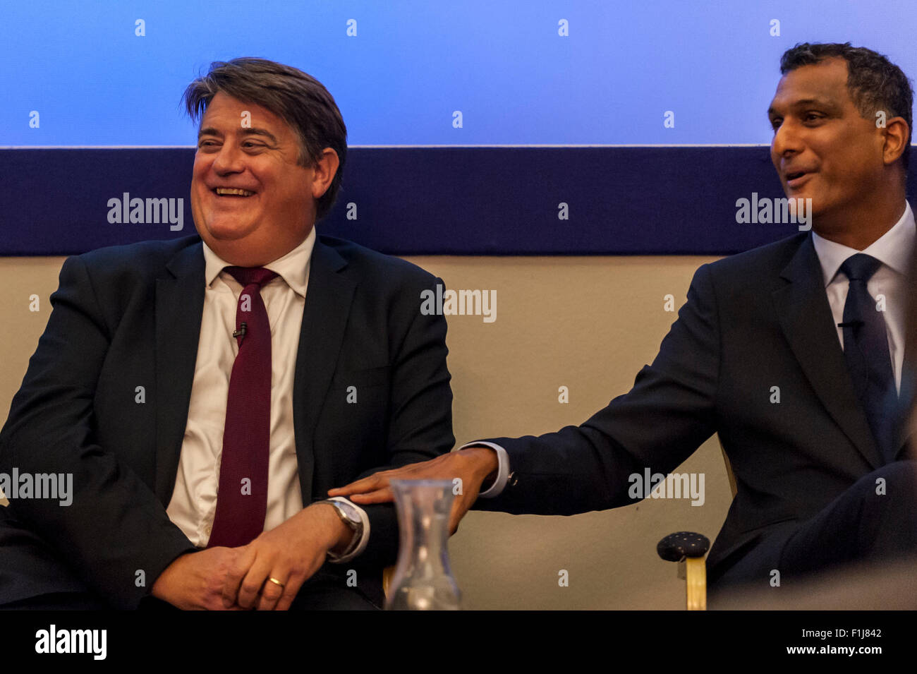 London, UK.  2 September 2015.  Stephen Greenhalgh and Syed Kamall share a joke as Centre for London and Prospect - Stock Image