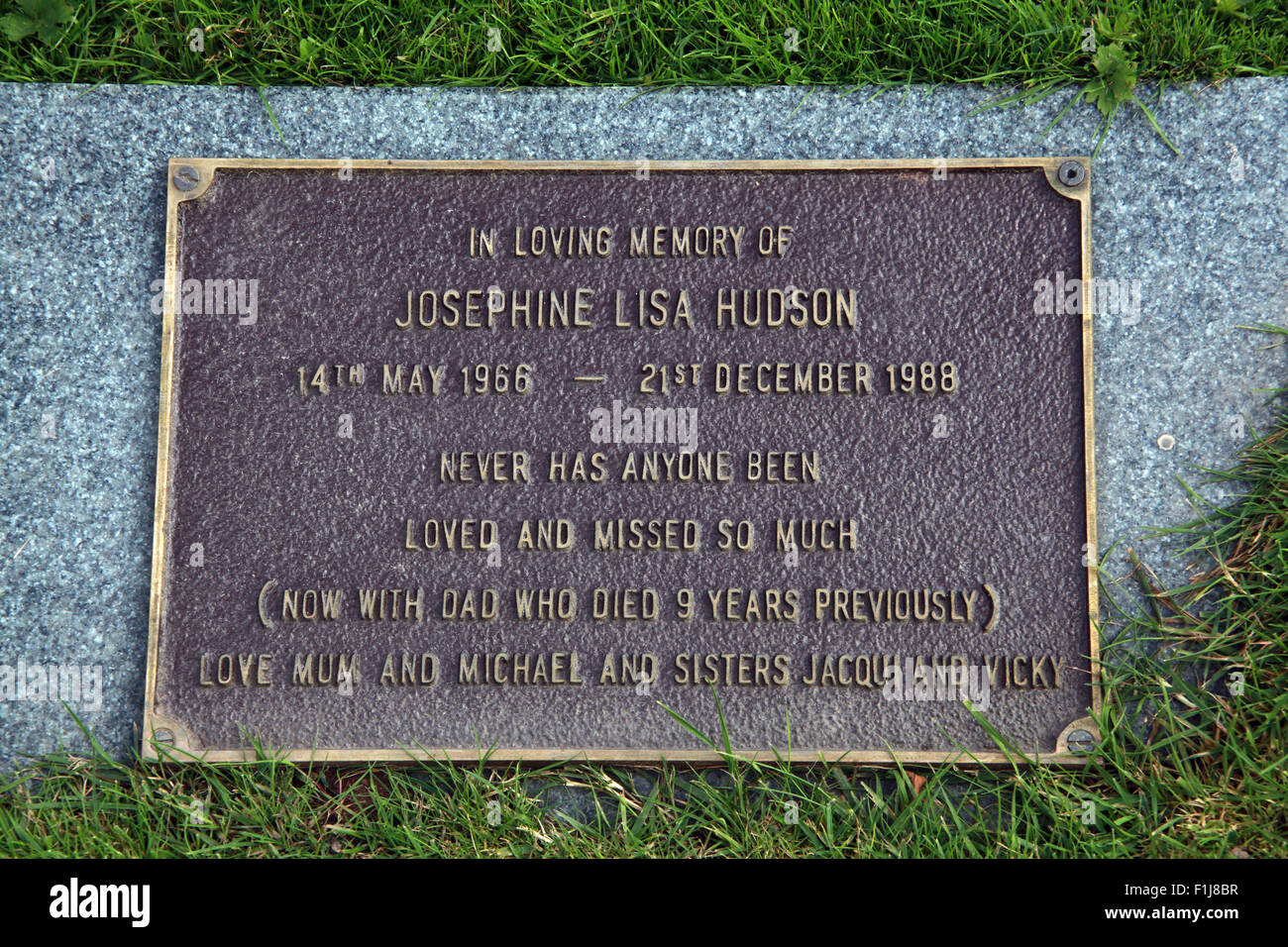 Lockerbie PanAm103 In Rememberance Memorial Josephine Lisa Hudson, Scotland - Stock Image