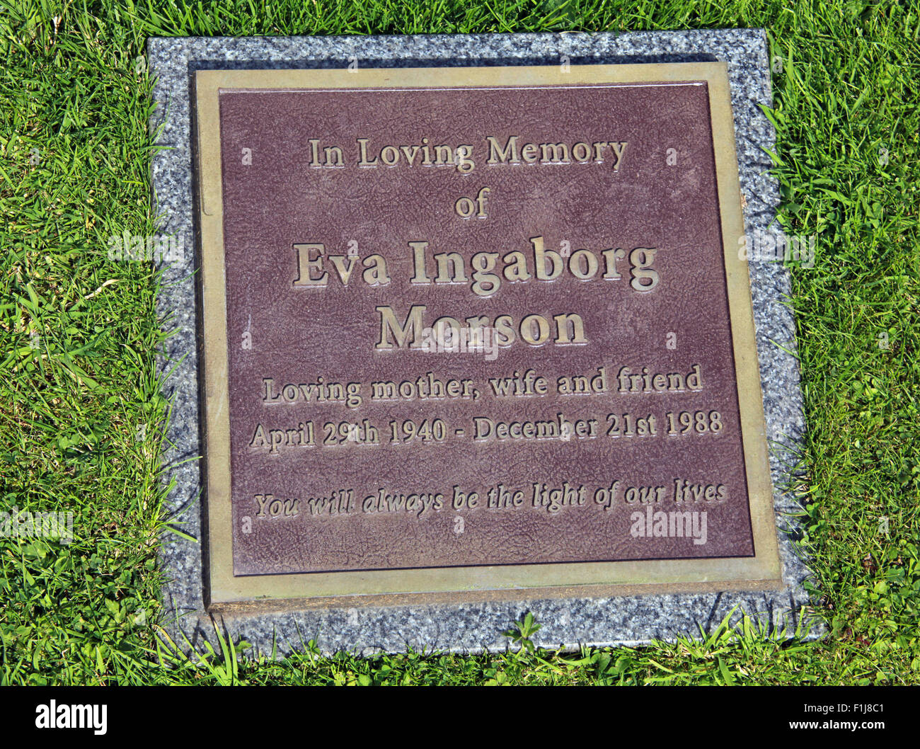 Lockerbie PanAm103 In Rememberance Memorial Eva Ingaborg Morson, Scotland - Stock Image