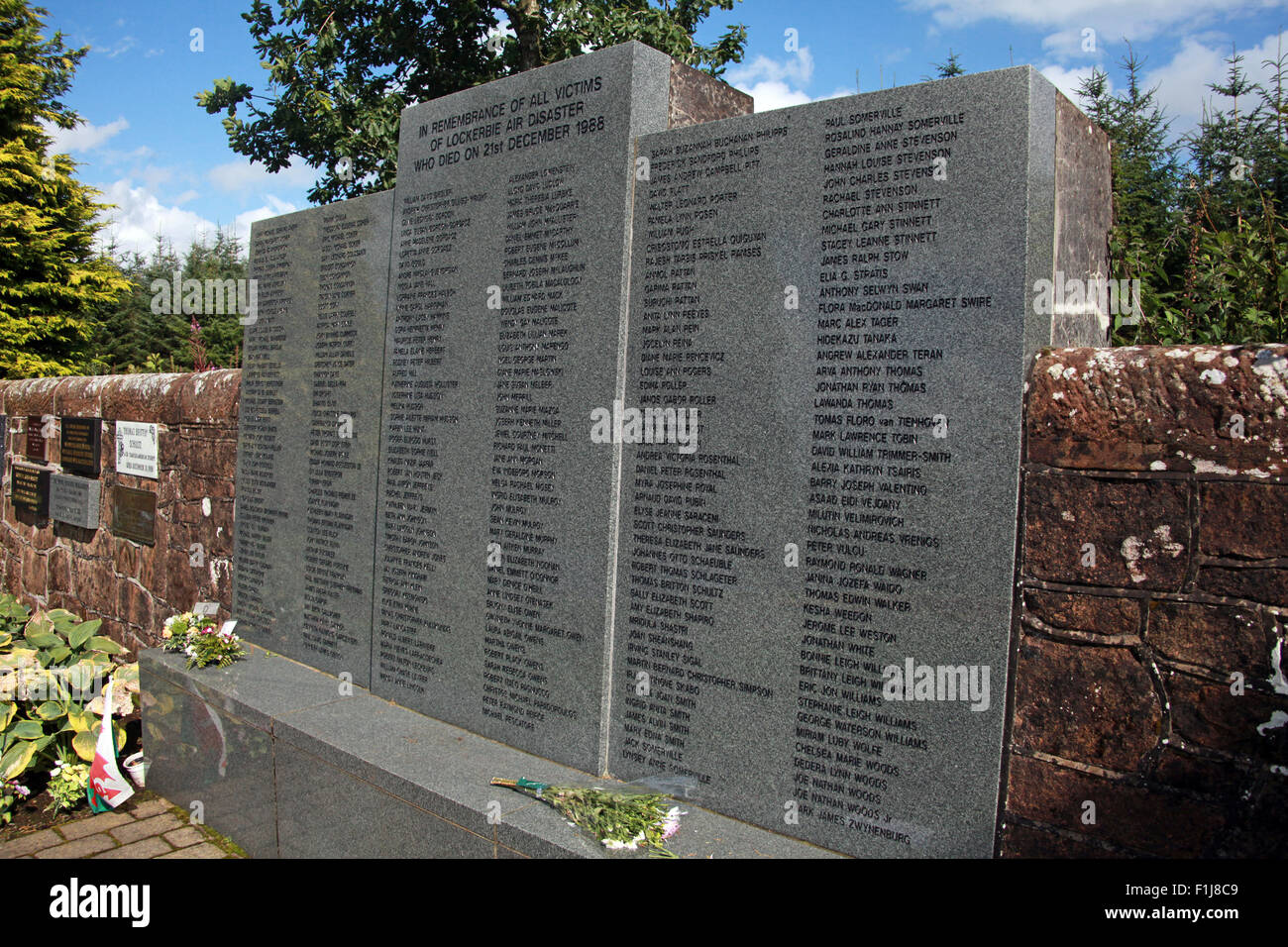 Lockerbie PanAm103 In Rememberance Memorial from the side, Scotland - Stock Image