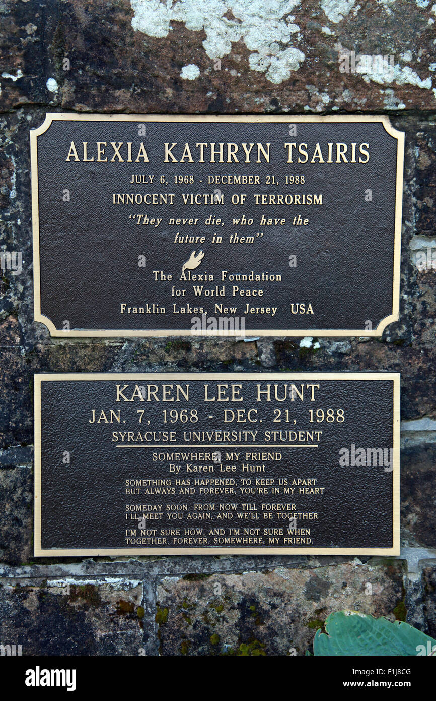 Lockerbie PanAm103 In Rememberance Memorial Alexia Kathryn Tsairis Innocent Victim of terrorism Foundation For World - Stock Image