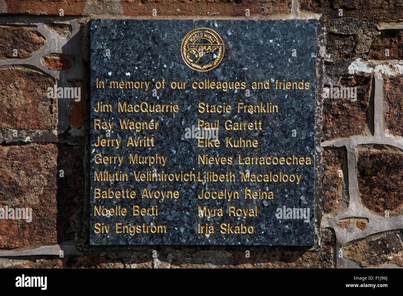 Lockerbie PanAm103 In Rememberance Memorial PAA World Wings Plaque,Scotland - Stock Image
