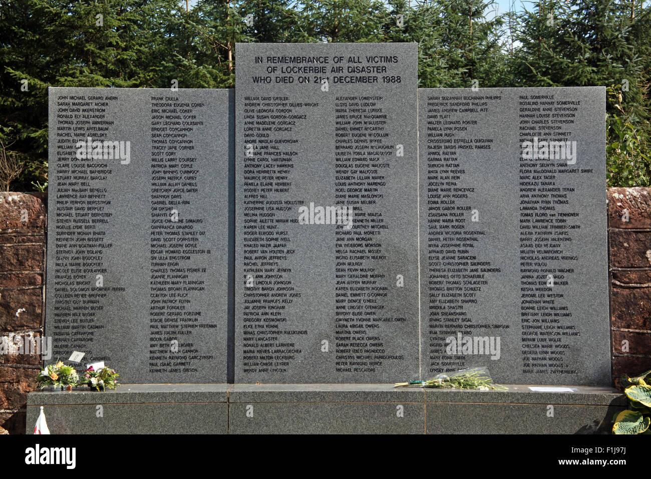 Lockerbie PanAm103 Victims Memorial,Scotland - Stock Image