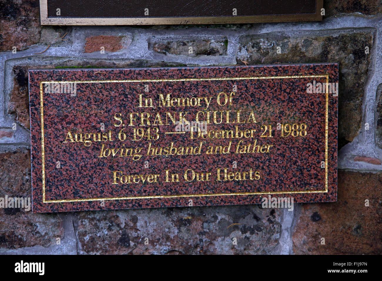Lockerbie PanAm103 In Rememberance Memorial S.Frank Ciulla,Scotland Stock Photo