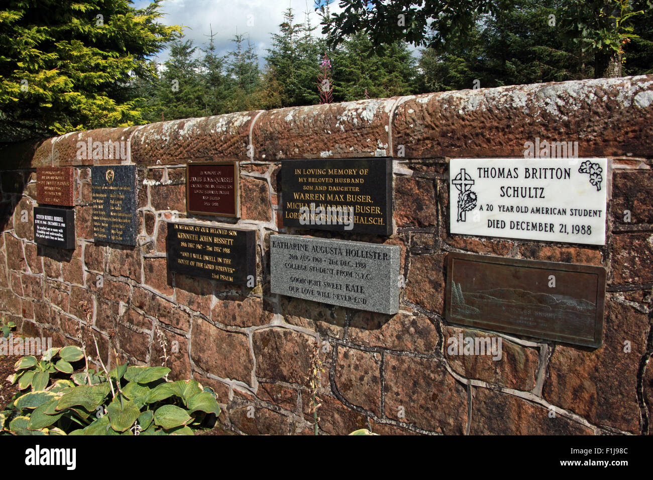 Lockerbie PanAm103 In Rememberance Memorial Wall Thomas Britton Schultz,Scotland - Stock Image