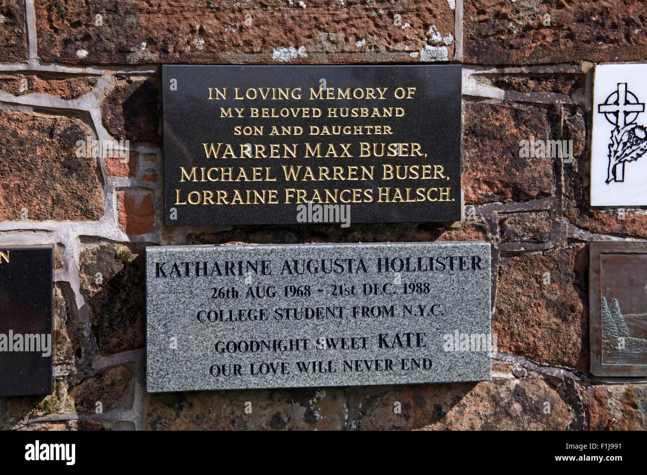 Lockerbie PanAm103 In Rememberance Memorial Warren Max Buser Michael Warren lorraine Frances Halsch Katherine Augusta - Stock Image