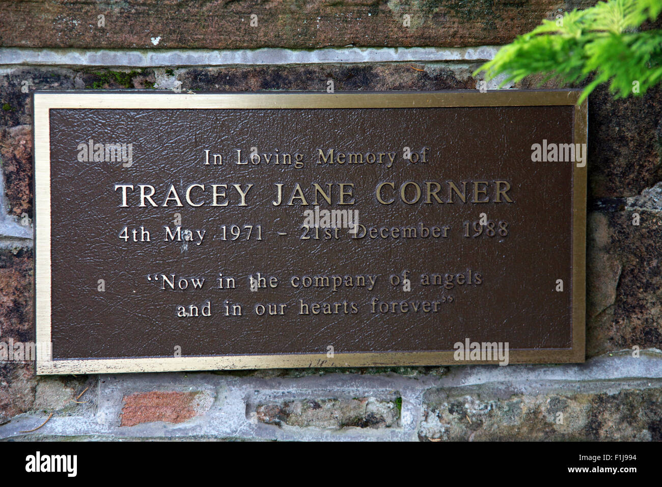 Lockerbie PanAm103 In Rememberance Memorial Tracey Jane Corner,Scotland - Stock Image