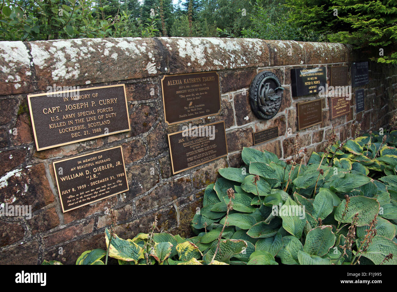 Lockerbie PanAm103 In Rememberance Memorial wall, Scotland Stock Photo