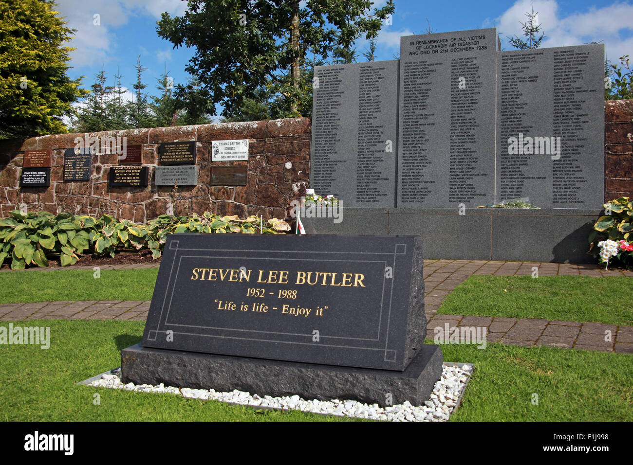 Lockerbie PanAm103 In Rememberance Memorial Steven Lee Butler - Life Is Life Enjoy It,Scotland - Stock Image