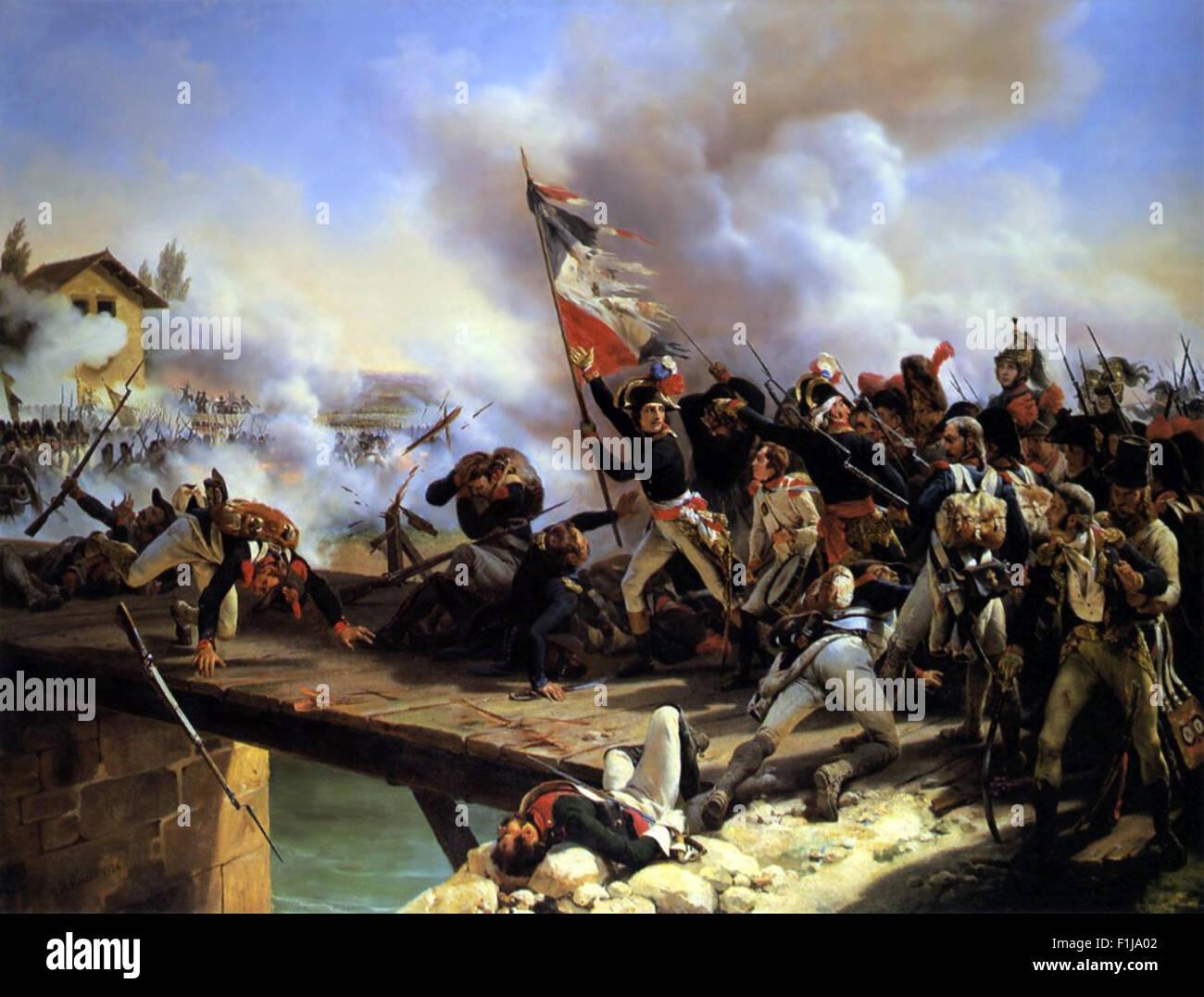 Napoleon Bonaparte leading his troops over the bridge of Arcole, by Horace Vernet in 1826. Napoléon Bonaparte, - Stock Image