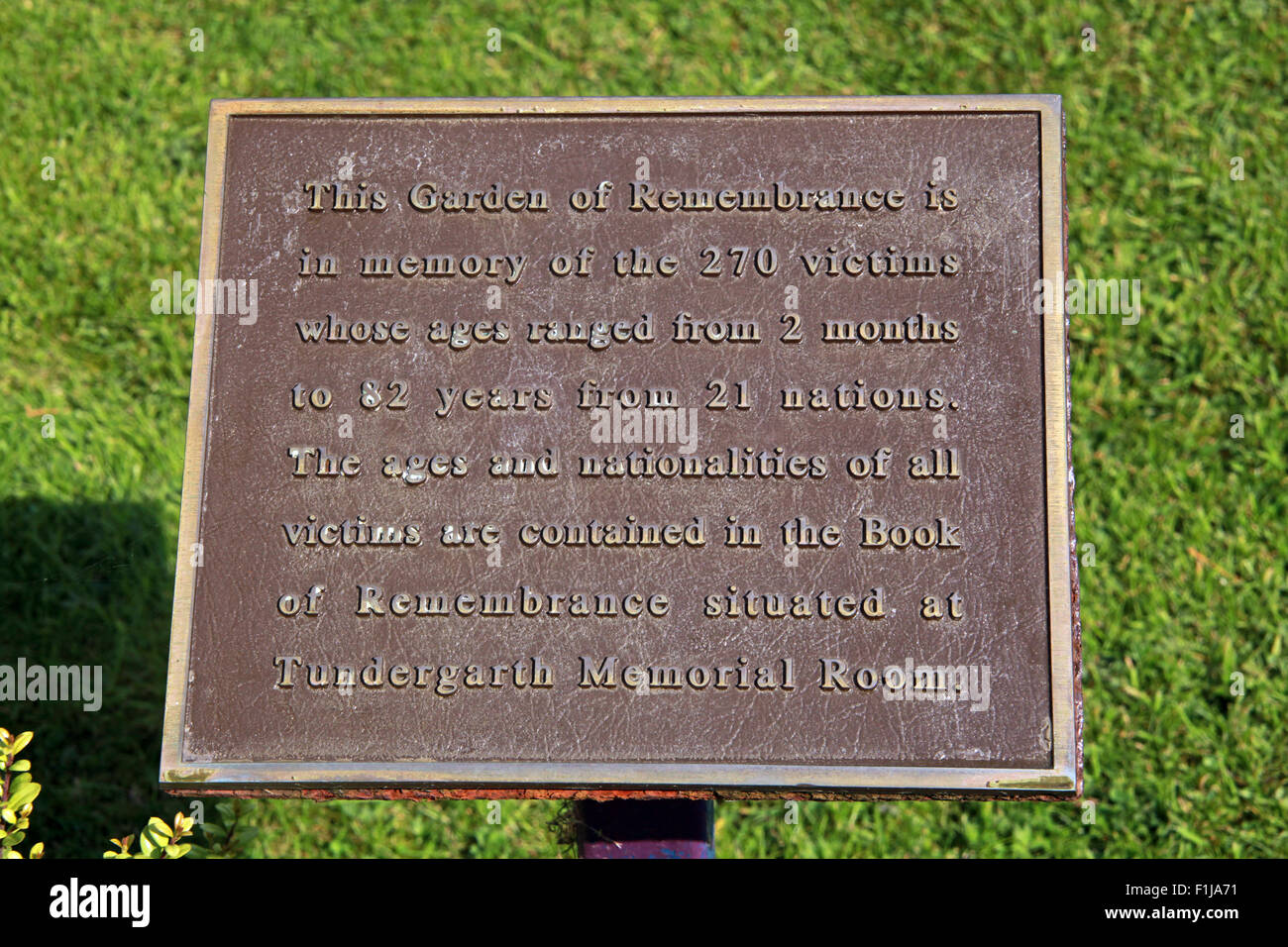 Plaque Lockerbie PanAm103 Memorial,Scotland - Stock Image
