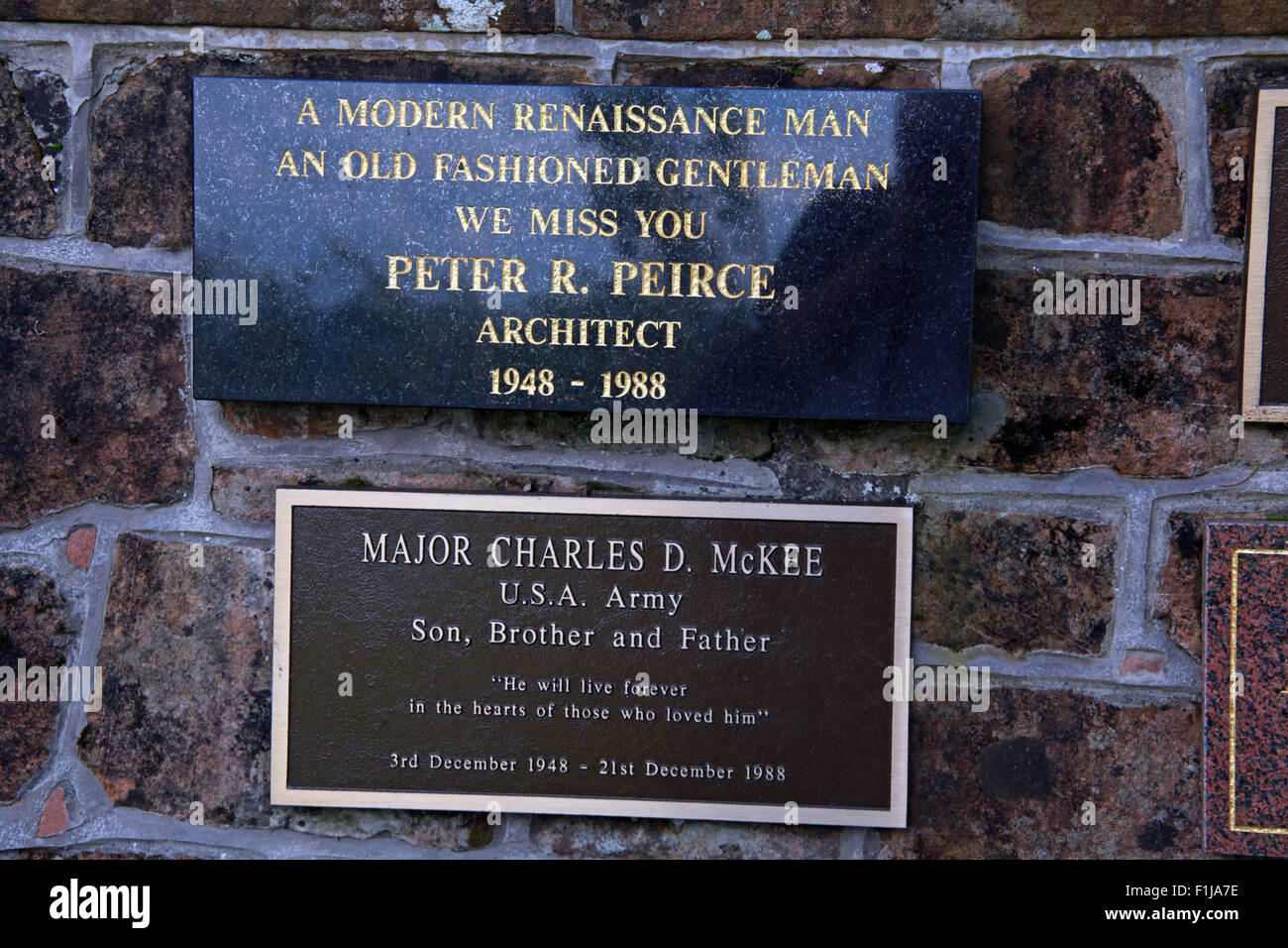 Lockerbie PanAm103 In Rememberance Memorial Peter R Peirce Architect Major Charles D McKee USA Army,Scotland - Stock Image
