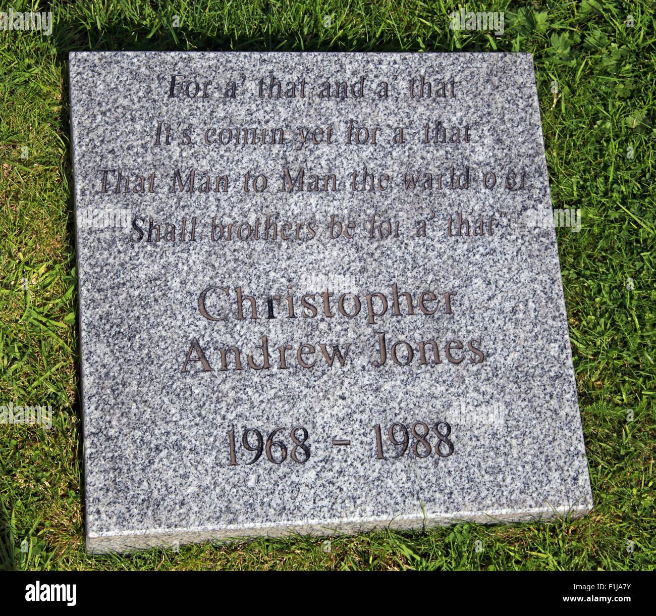 Lockerbie PanAm103 In Rememberance Memorial Christopher Andrew Jones, Scotland - Stock Image