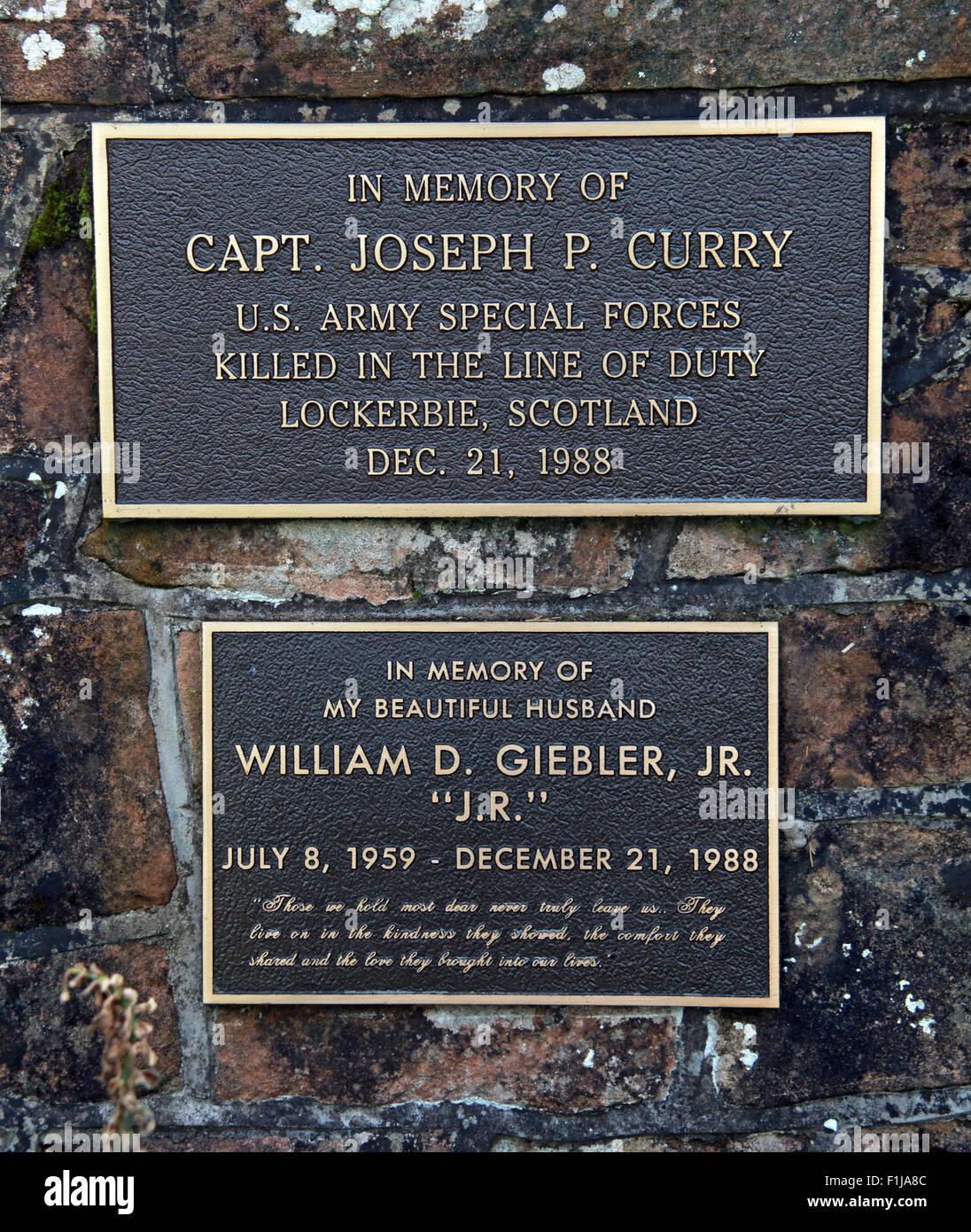 Lockerbie PanAm103 In Rememberance Memorial Capt Joseph P. Curry US Army Special Forces William D. Giebler JR Stock Photo