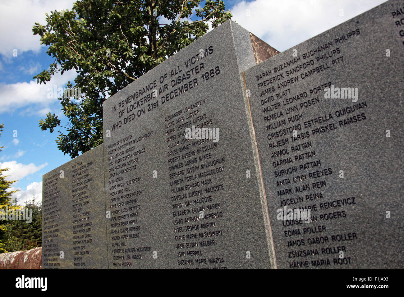 Lockerbie PanAm103 In Rememberance Memorial Names, Scotland - Stock Image